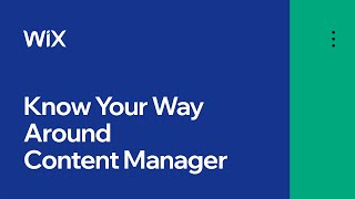 Get to Know the Content Manager | Content Manager by Wix Data
