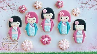 How to make KOKESHI DOLL COOKIES - Two Japanese inspired designs