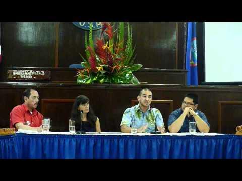 Leevin Camacho speaking at the Guam Decolonization Forum