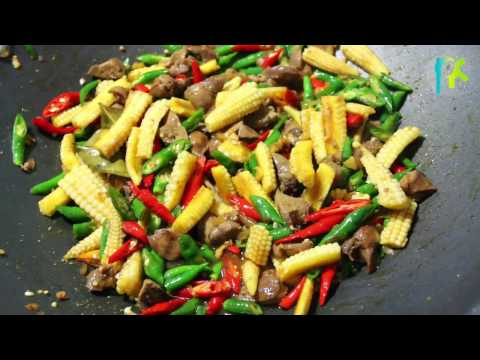 Young Corn Recipe Spicy Sauteed chicken livers