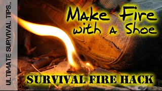 DIY - Survival Fire Kit / Shoe - HACK - How to Make Fire with a Shoe or Boot - FireCord Paracord