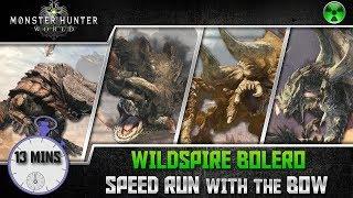 Monster Hunter World 🏹 Wildspire Bolero Speedrun w/ Bow - Barroth, Jyuratodus, Rathian, Diablos
