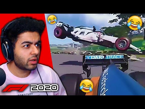 CARS AIRBORNE & FLYING! HUGE AI MISTAKES on the F1 2020 Game! |
