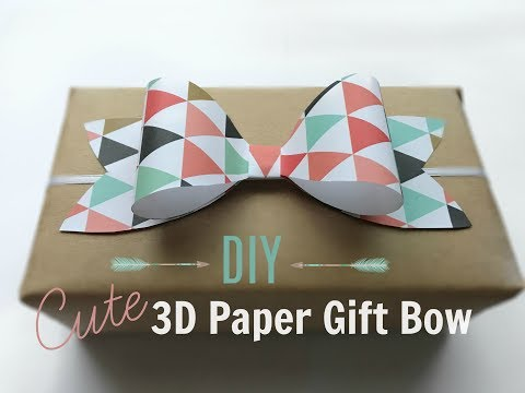 How to make a 3D Paper Gift Bow -  easy!   kzvDIY
