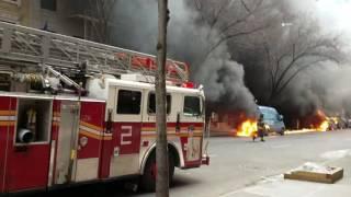 Several Cars Catch Fire in Manhattan