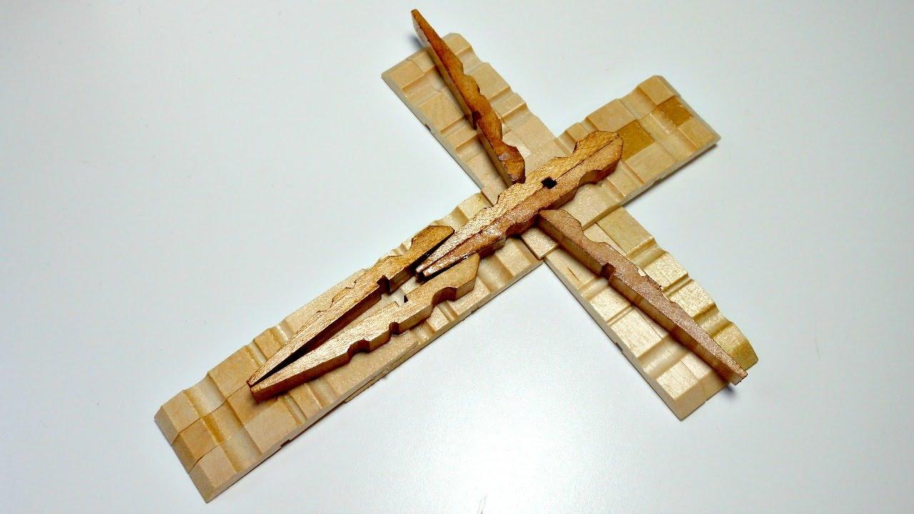 Tutorial c mo hacer una cruz con pinzas de la ropa reciclaje mundo party youtube - Reciclaje de la madera ...
