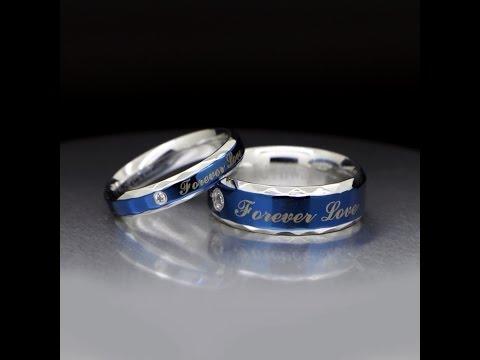 Custom Name Love Forever Promise Rings Set