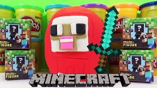 Minecraft Grass Series 1 Blind Box Mini Figures Unboxing and PlayDoh Surprise Egg Toy Opening