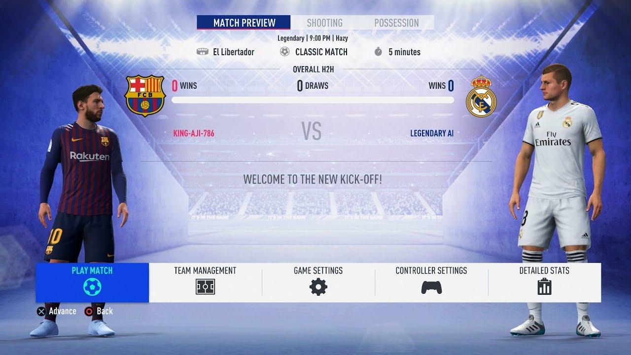 Download FIFA 19 - Barcelona Vs Real Madrid FULL GAMEPLAY - 1080P/PS4