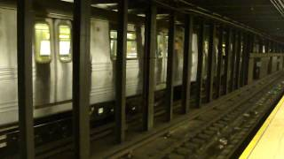 IND 6th Ave Line: R46 F Train at Delancey-Essex Sts