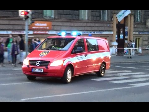 Prague, CZ state police cruiser & FD investigation unit responding [3.2014]