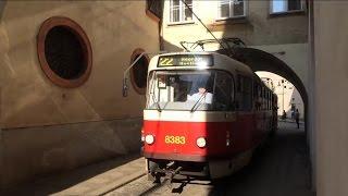 【チェコ】 プラハ市電 その4 マラー・ストラナ広場付近のガントレット Trams in Malostranské náměstí Prague, Czech Republic (2014.4)