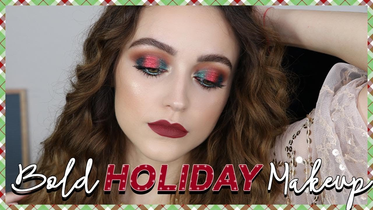 RED + GREEN HOLIDAY MAKEUP LOOK