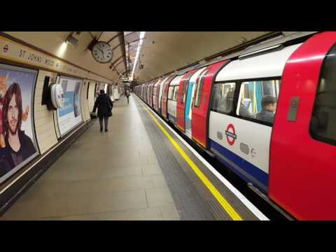 Jubilee line 1996 stock arrives and departs St John's Wood
