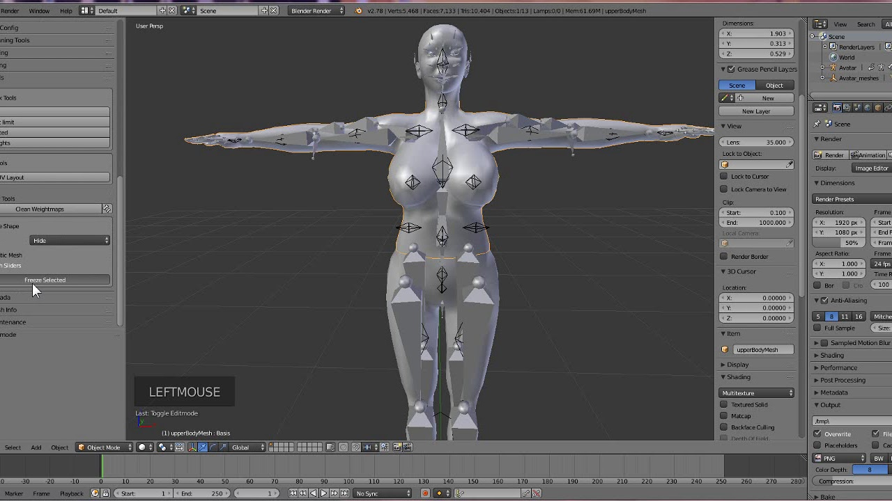 How to convert your System Avatar into a bento avatar:Step2-Setting up in  blender