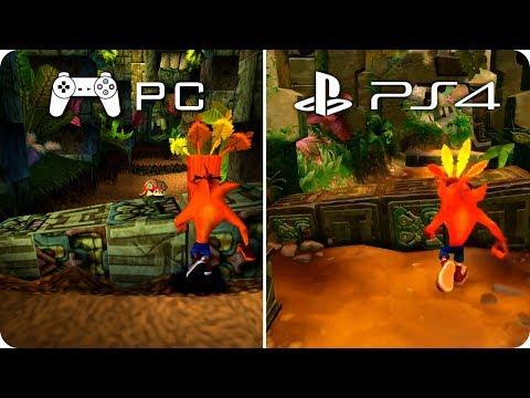 PC/PS4 Graphics Comparison - Crash Bandicoot - PC Emulation PS1 vs PS4 N Sane Trilogy