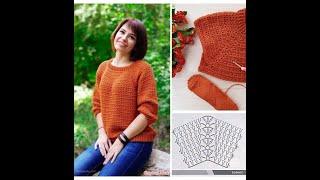 Джемпер крючком. Простобыстро красиво Вязание со схемами Crochet
