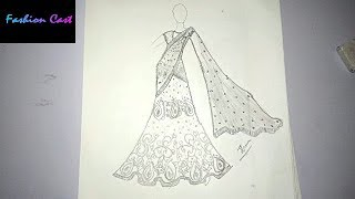 Learn How To Draw Indian Dress Half Saree For Beginners #01