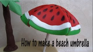 How To Make A Beach Umbrella Cake Topper Out Of Fondant - Come Fare Un Ombrellone In Pdz