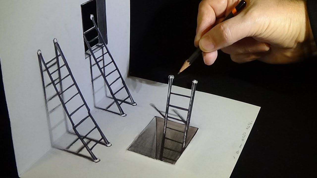 How to Draw Ladders - Drawing 3D Ladders - Optical Illusion on ...
