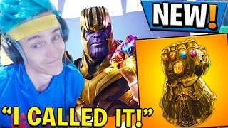 NINJA REACTS TO *NEW* THANOS SKIN! + INFINITY GAUNTLET MODE IN FORTNITE!