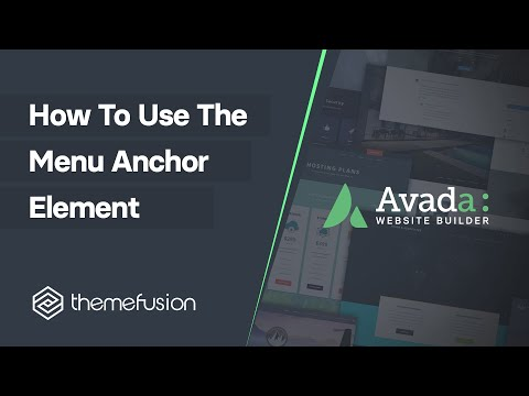 How To Use The Menu Anchor Element Video