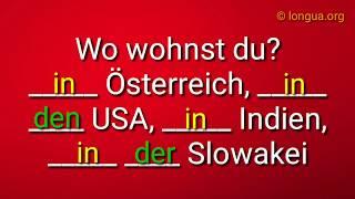 Übungen A1, A2, B1, B2: sein, in, bei, an, auf -Präposition - Deutsch lernen und üben - Grammatik