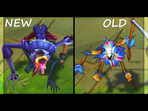 All Fiddlesticks Skins Rework NEW vs OLD Texture Comparison (League of Legends)