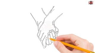 How to Draw Holding Hands Step by Step Easy for Beginners/Kids – Simple Hand Drawing Tutorial