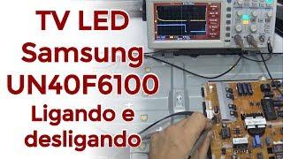 TV LED Samsung UN40F6100 Ligando e desligando
