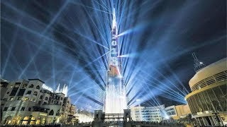 Лазерное шоу на Бурдж Халиф 2018. Фонтаны Дубай Молл.