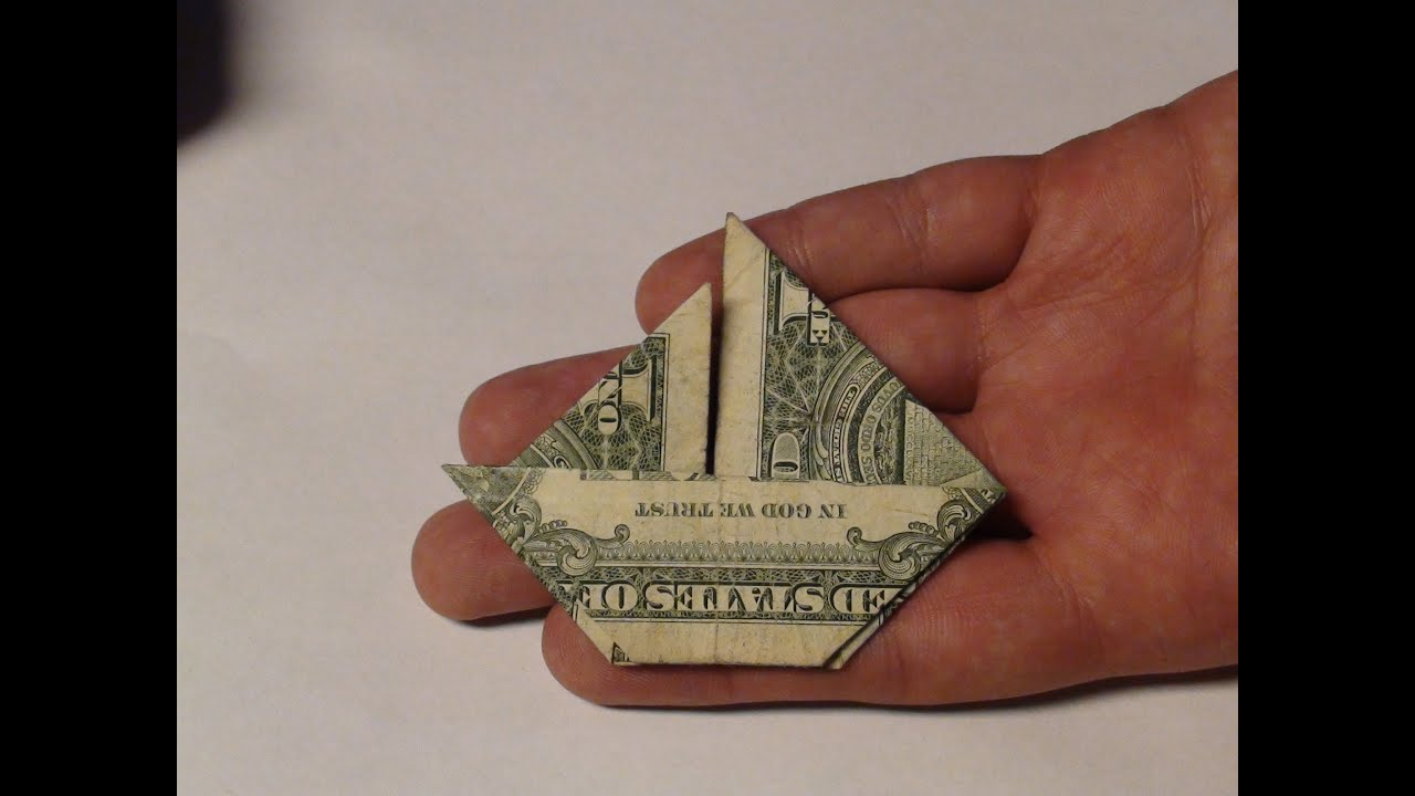 Fold Money Sailboat Origami 1 One Dollar Bill Tutorial Full