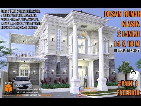 Desain Rumah Mewah Eropa 1 Lantai  desain rumah klasik 2 lantai 14x10m 4 kamar tidur part 1