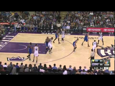 DeMarcus Cousins watches as Marreese Speights completes alley-oop dunk on inbounds