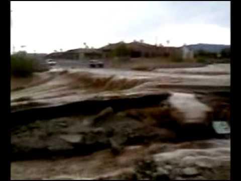 Major Monsoon Rain and Flooding Lake Havasu City, Arizona 7/13/2012 RAW Video