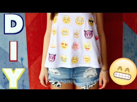 😁 😂 😍 EMOJI Shirt Do it yourself - Tutorial - English subtitle! 😜 😘 😊 DIY Shirt - Cali Kessy