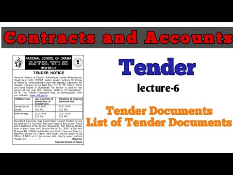 Tender Documents and List of Tender Documents || Tender || Contracts and accounts