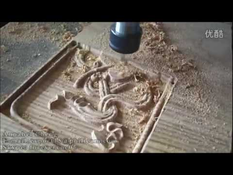 PHILICAM 1325 wood working cnc router with Tslot table  wood relief video
