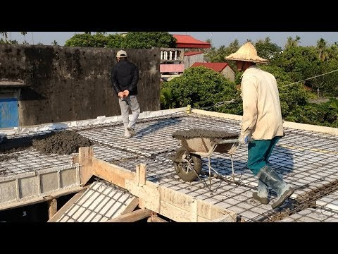 House construction - Roof Construction With Concrete Plant -