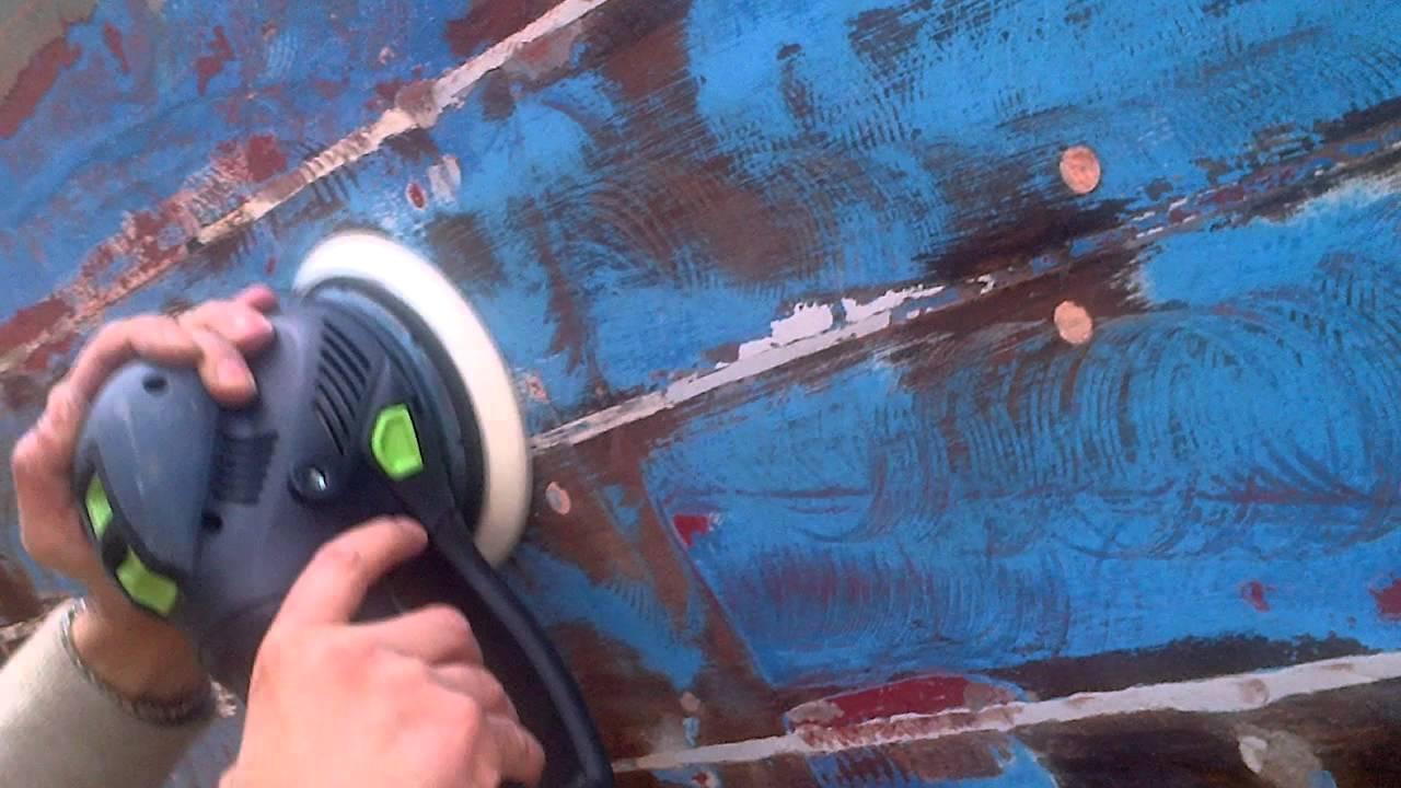 Levigatura Antivegetativa Rotex 150 Feq Su Barca In Legno 2 Olbia Youtube