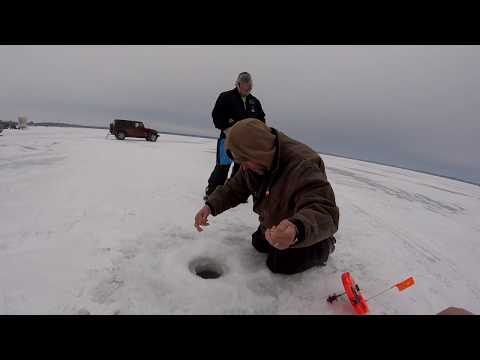 Ice Fishing For Northern Pike And Yellow Perch On Lake Shawano Wisconsin