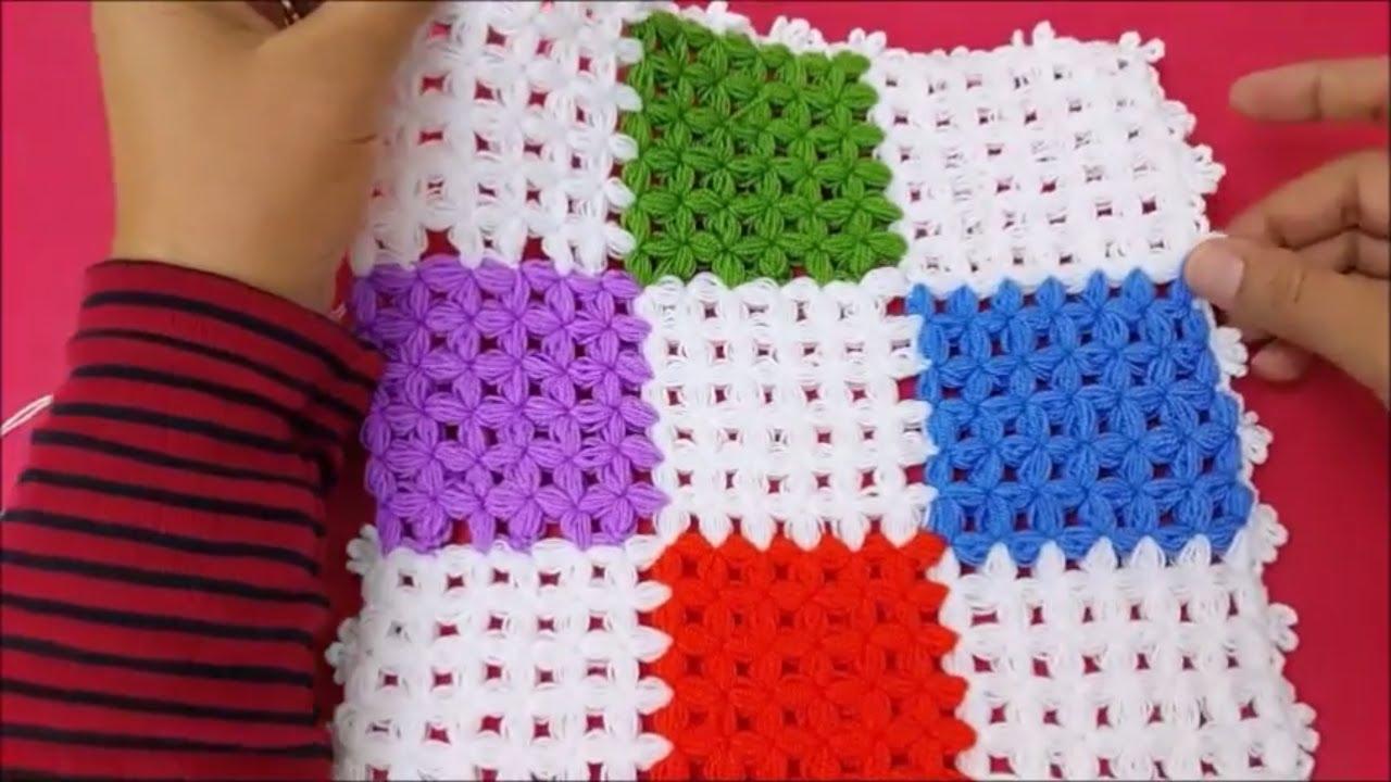 Tığ İşi Kare Battaniye Modeli Yapılışı Açıklamalı Videolu