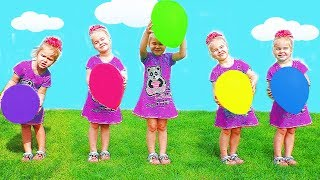 Learn Balloon Colors with Five Little Babies Jumping on The Bed Educational Video Song for Kids