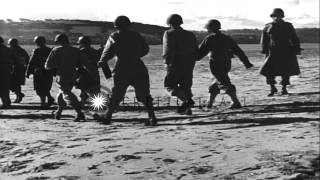 American troops practice going aboard LCVP in France during World War 2 HD Stock Footage