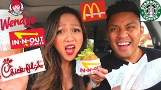 LETTING THE PERSON IN FRONT OF US DECIDE WHAT WE EAT FOR 24 HOURS CHALLENGE!!!! | MUKBANG WITH US