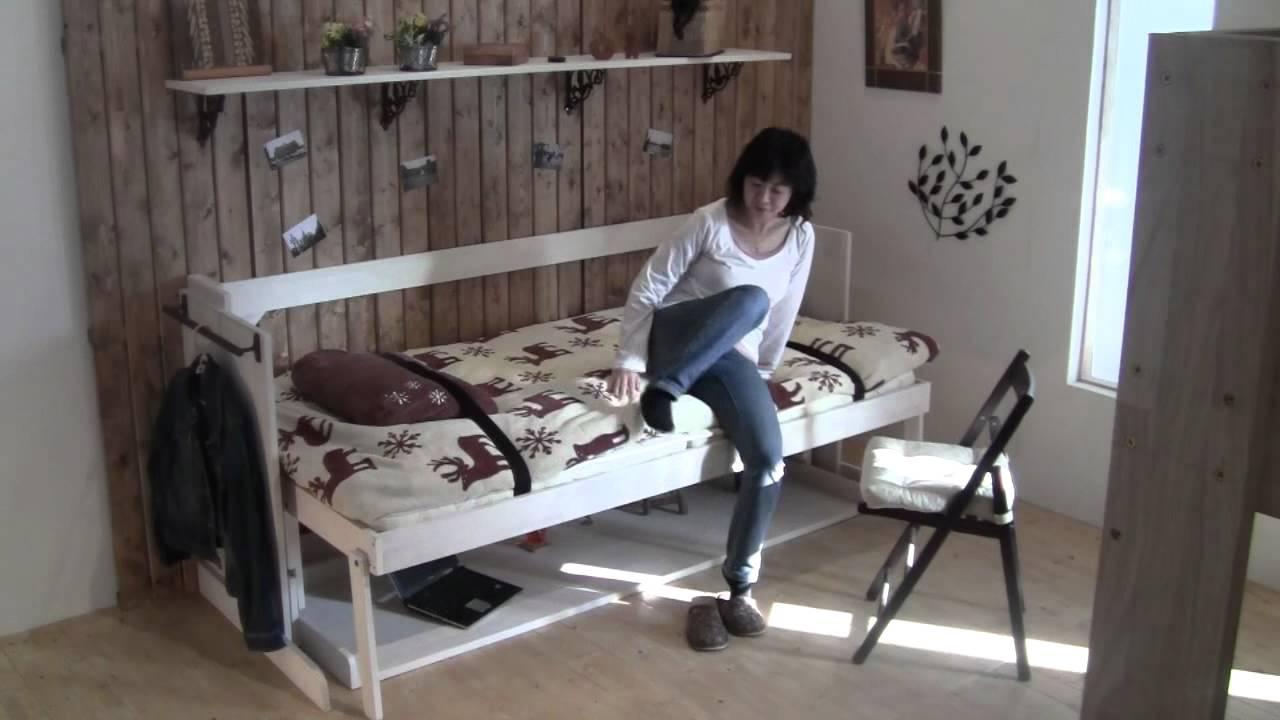 驚き!!新タイプの木製収納ベッド(デスクベッド)でお部屋が大変身! Youtube