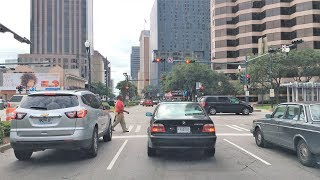 driving downtown 4k new orleans superdome street usa