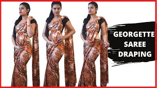 How to drape a georgette saree