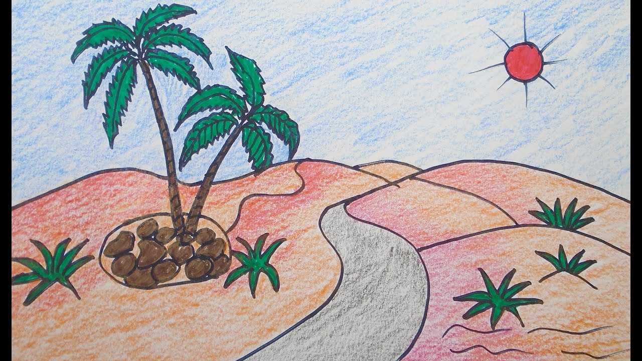 How to draw scenery of desert & mountain, drawing for beginners, easy  drawing & color, Landscape