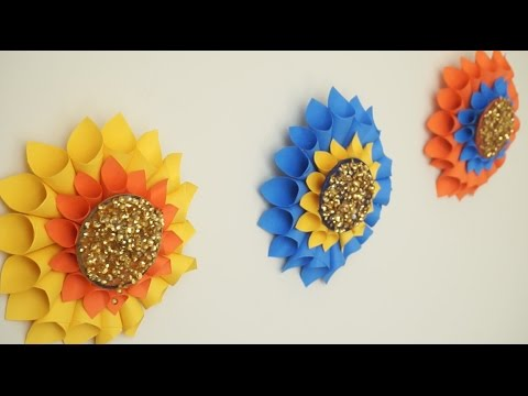 Giant Flowers Wall Hanging From Bangles And Paper - YouTube